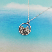 SanLan good quality camping jewelry Outdoor Jewelry Gifts Lovely round pendant Pine Tree necklace under the mountain 2