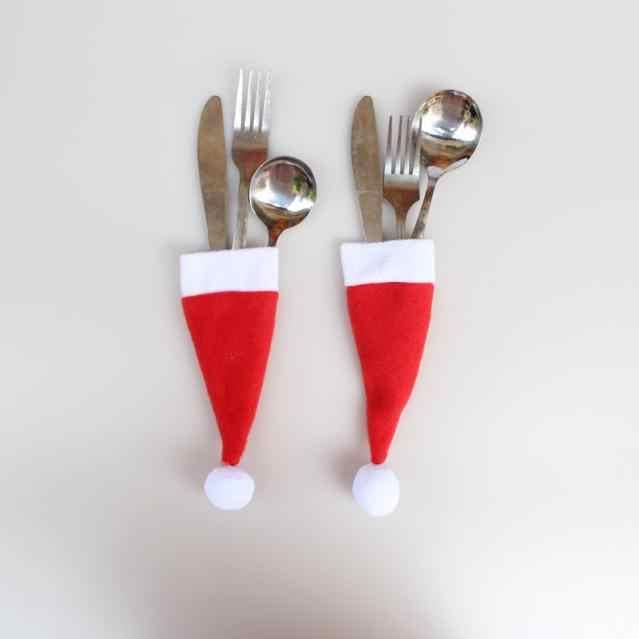 Venda quente 2019 1 pc natal decorativo talheres faca garfo conjunto adorável chapéu de natal ferramenta de armazenamento enfeites presente 1 pc