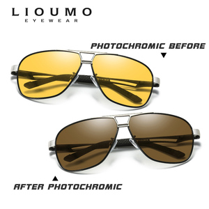 Image 3 - Lioumo marca photochromic óculos de sol polarizados homem óculos de sol dia & noite visão feminina óculos de condução oculos zonnebril mannen