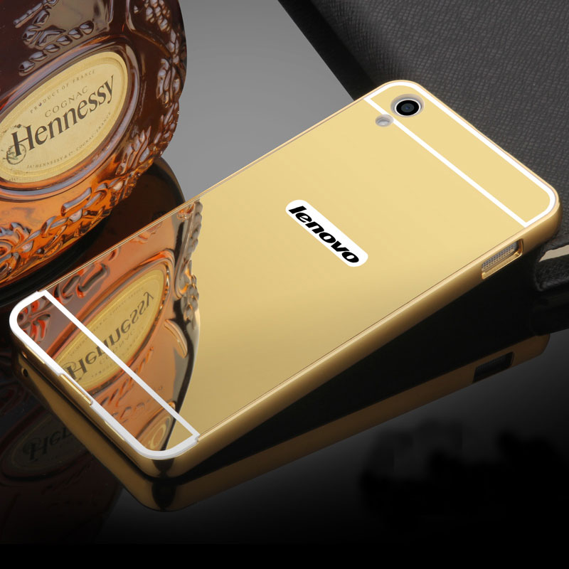 For Hoesje Lenovo S850 Case Aluminum Metal Frame Bumper Mirror Case For Lenovo S850 Z90 P70 K3 Note K5 plus S90 S60 Back Covers