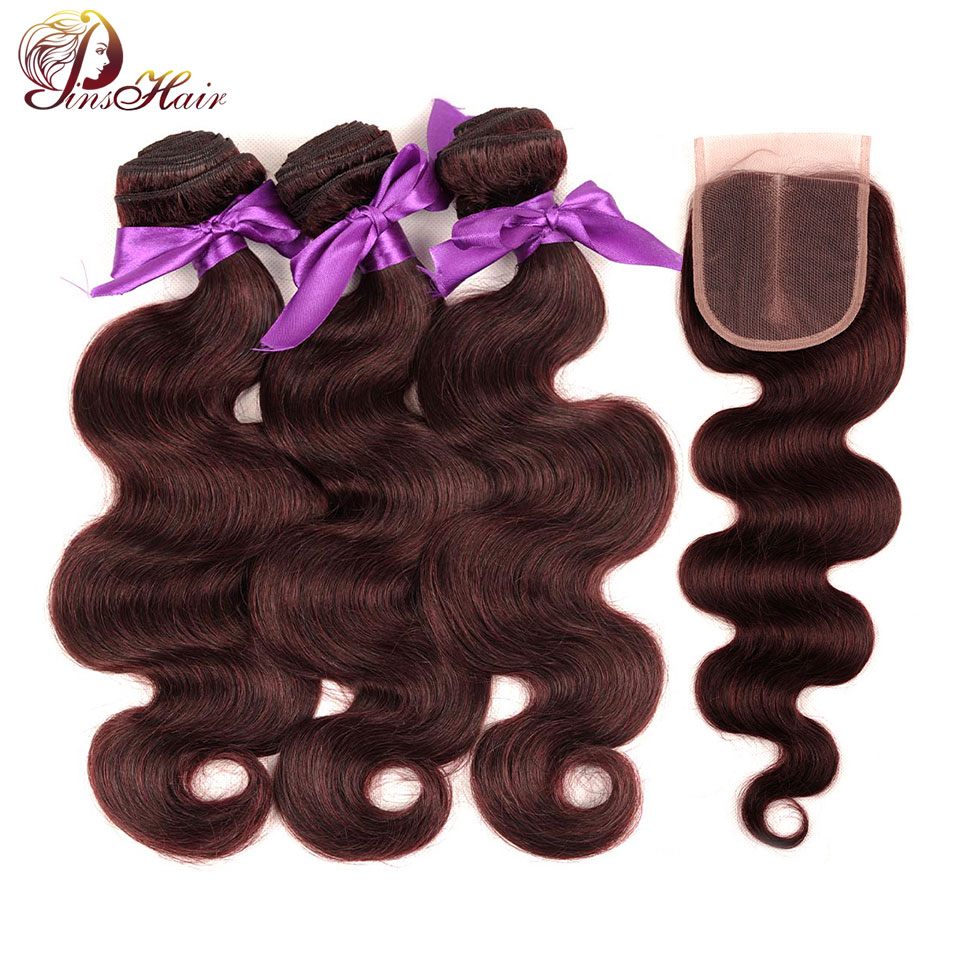 Red Hair Burgundy Bundles With Closure Brazilian Body Wave Human Hair Weave 3 Bundles With Closure Nonremy Pinshair No Shedding