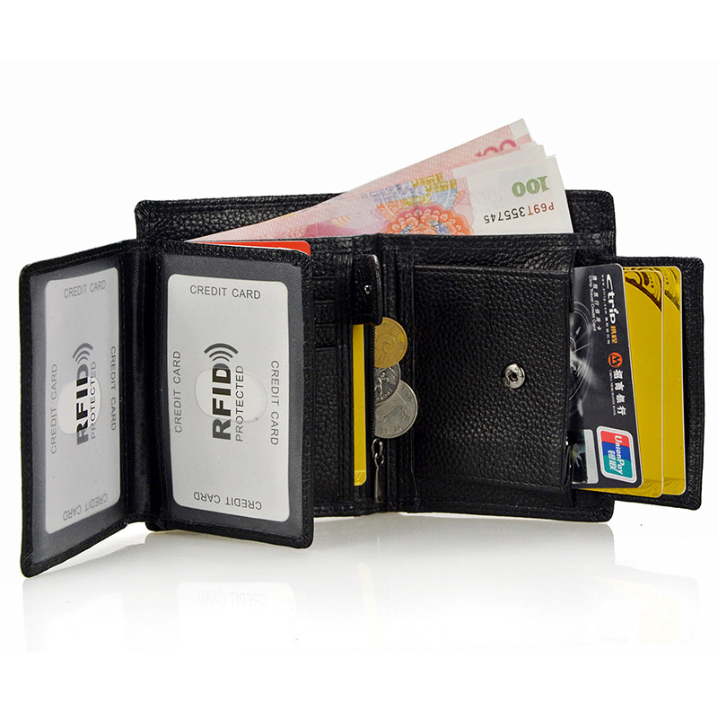 LACHIOUR RFID-blockering män äkta läder plånböcker koppling - Plånböcker - Foto 5