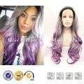 Синтетические седые волосы фиолетовый ломбер парик черный ломбер волосы парик с серым фронта серый ломбер парик