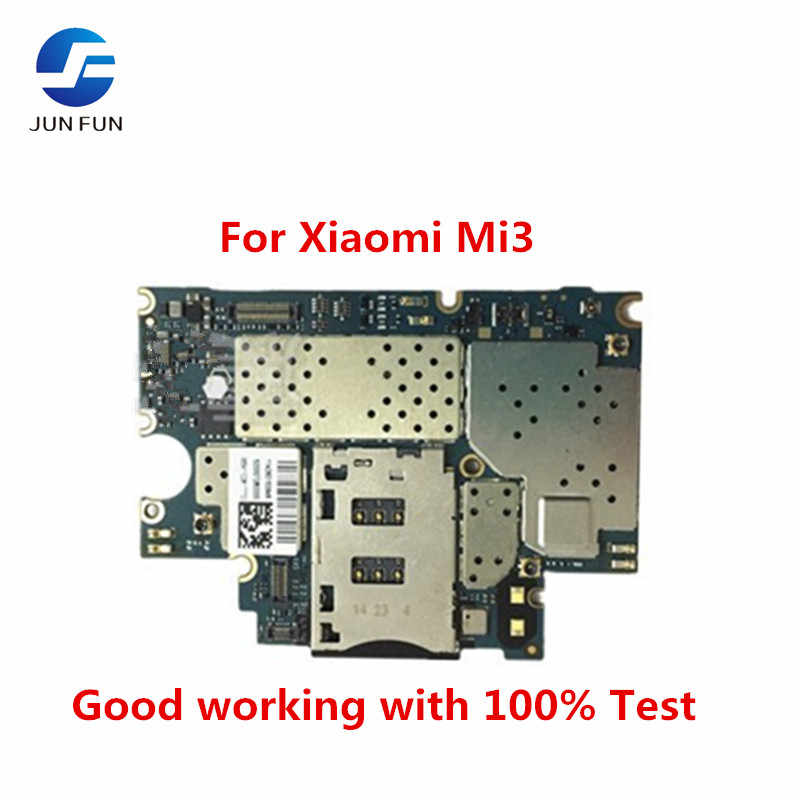 JUN FUN Unlocked Main Board Mainboard Motherboard With Chips Circuits Flex Cable For Xiaomi Mi3 M3 Mi 3