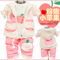 Anlencool 2017 Free shipping Korean children cotton sweater three-piece baby clothing autumn girls clothes set baby clothing