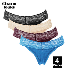 Charmleaks Women Sexy Panties Cotton Underwear Thong Lace V-String Tanga Briefs 4 Pack Lingreie