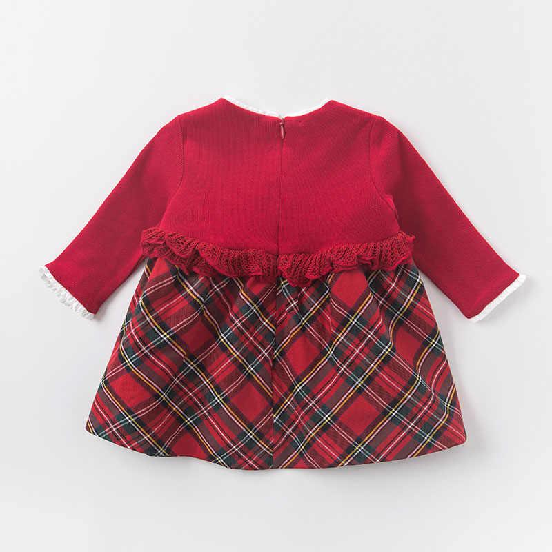 DB6078 dave bella/осеннее платье принцессы для маленьких девочек на свадьбу и день рождения Детская клетчатая одежда Детские дизайнерские платья для девочек