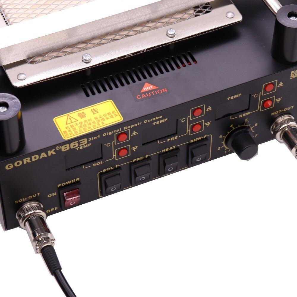 Image 3 - Gordak 863 853 Hot Air Heat Gun BGA Rework Solder Station + Electric Soldering iron + IR Infrared Preheating Station With-in Electric Soldering Irons from Tools
