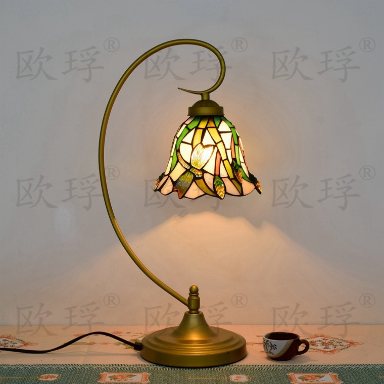 11 Inch Flesh Country Flowers Tiffany Table Lamp Country Style Stained Glass Lamp for Bedroom Bedside Lamp E27 110-240V 16inch antique agate jade dragonfly stained glass lampshade tiffany pendant lamp country style bedside lamp e27 110 240v