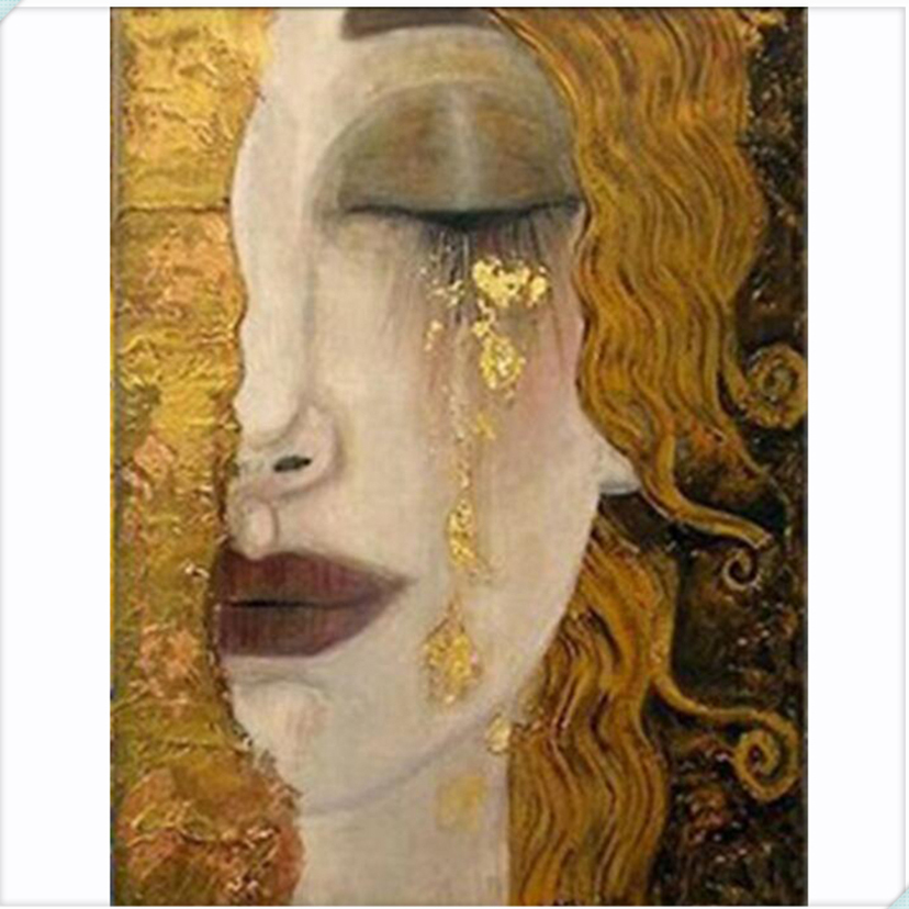 portrait pin Brooch embroidery thread and beads painting Golden Tears by Gustav Klimt hand embroidery brooch Klimt Jewelry hand brooch