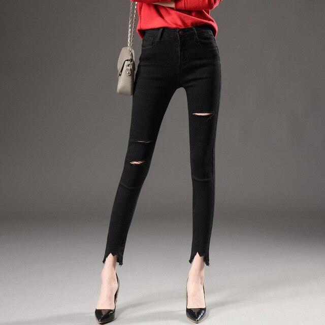 alto 2019 de piezas de 1 de Primavera y jeans lápiz algodón para corte talle mujeres n7YYIFx