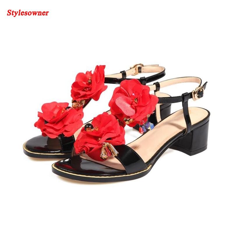 ФОТО Stylesowner Red Flower European Summer Sandal Shoes Leather Low Heel Sweet Girls Open Toe Delicate Sandalias Mujer