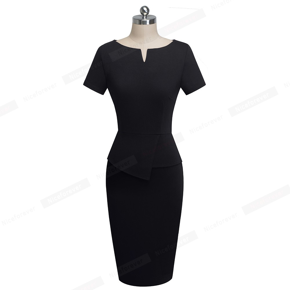 Nice-Forever Vintage Elegant Pure Color Wear to Work Peplum vestidos Business Bodycon Office Sheath Women Dress B525