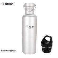 Tiartisan 750 ml Titan Wasserflasche Ultraleicht Outdoor Camping Wandern Titan Klettern Sport Flasche mit Aufbewahrungstasche