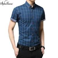 2017 New Brand Men Casual Shirts Short Sleeve Plaid Sotton Slim Fit Dress Shirt Plus Size