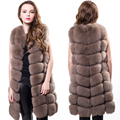 90CM Genuine Fox Fur Vest Women's Real Fur Coat Girl's Warm Outerwear Fur Vest Coat Full Pelt Silver Fox Fur Waistcoat