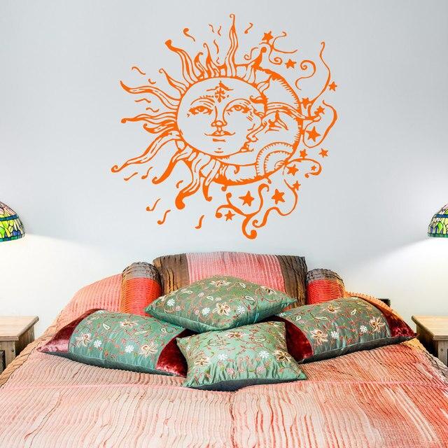 US $7.98 25% OFF|Sonne Mond Sterne Wandtattoos Für Schlafzimmer Sonne und  Mond Wandtattoo Ethnische Decor Crescent Decals Bohemian Boho mode ...