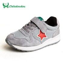 Claladoudou Детей, Бегущих Shoes Черный Натуральная Кожа + Сетка Дышащие Кроссовки Для Мальчиков Зеленая Звезда Мягкие Малышей Shoes Size 21-37