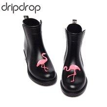 DRIPDROP Резиновые сапоги из ПВХ Водонепроницаемые для Женщин с Аппликациями Фламинго