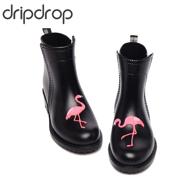 Flamingo DRIPDROP Chuva Botas de Borracha para As Mulheres À Prova D' Água de Salto Alto Sapatos Da Moda Meninas Senhoras Bonito Curto Tornozelo Rainboots PVC