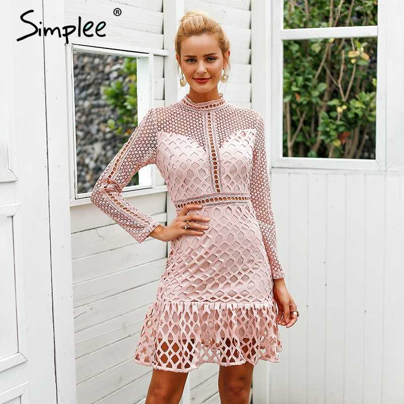 4ce3ac789217 ... Simplee Elegant hollow out ruffle lace dress Women vintage long sleeve  slim short dress Sexy christmas ...