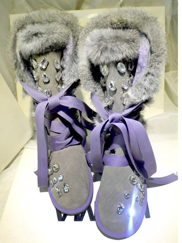 2019 Shiny Rhinestone Snow Boots Bow ties Lace Up Shoes Woman Furry Warm Flats High Quality Winter Boots Women Luxury Cool2019 Shiny Rhinestone Snow Boots Bow ties Lace Up Shoes Woman Furry Warm Flats High Quality Winter Boots Women Luxury Cool