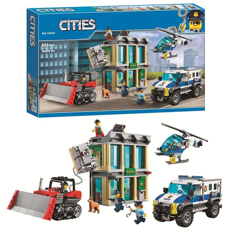 Bela pilsētas ēku komplekts 10659 Pilsētas policijas helikopteru buldozers Iegremdēšanas bankas celtniecības bloki Modeļa savietojamība 60140