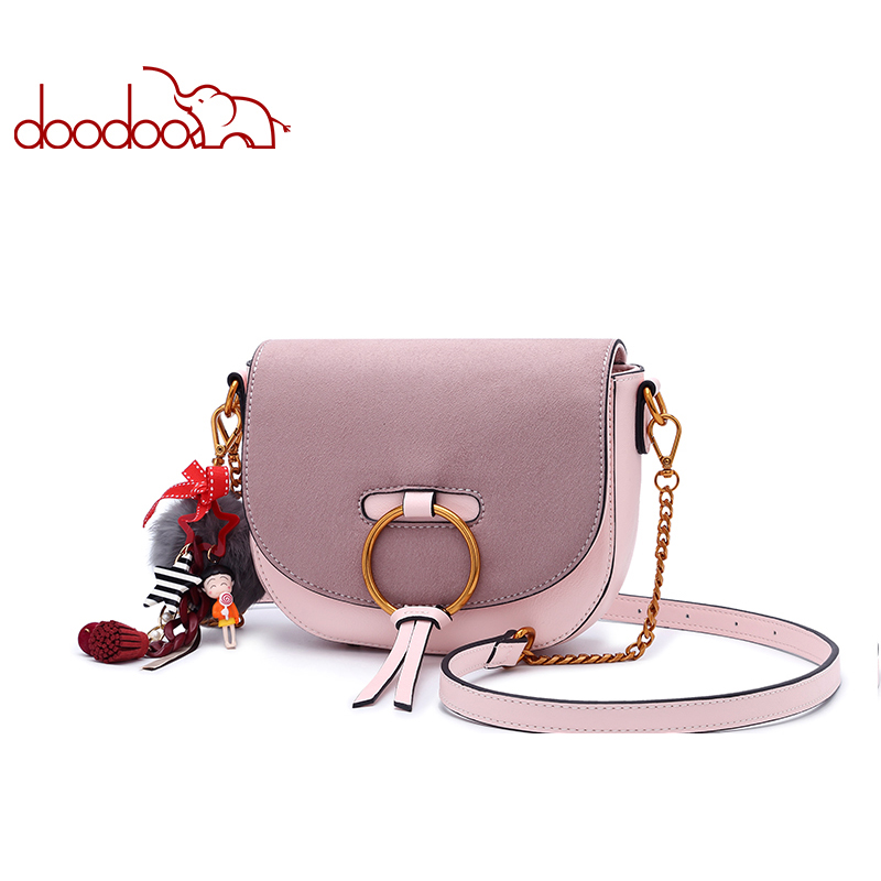 DOODOO Women Shoulder Bags Ladies Solid Messenger Bag Female Small Chain Artificial Leather Small Saddle Crossbody
