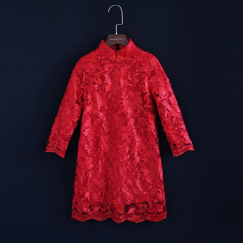 Spring kids girls embroidery lace red dress family clothes children cheongsam party dress matching mother daughter evening dress lace high low swing evening party dress