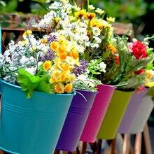 Металлический подвесной вертикальный суккулентный горшок для растений бонсай горшок цветочное ведро с крюком Настенное кашпо садовые цветочные горшки настенный домашний декор