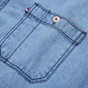 Image 3 - Mens רגיל fit ארוך שרוול ג ינס לעבוד חולצה שני כפתור קדמי חזה כיסים & עיפרון חריץ מחוספס ללבוש דק מזדמן כותנה חולצות