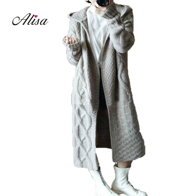 ba18bff993f Новый осенний зимний женский Кардиган с длинным рукавом с капюшоном  однотонное вязаное пальто 2018 женский теплый свитер длинный открытый ст.