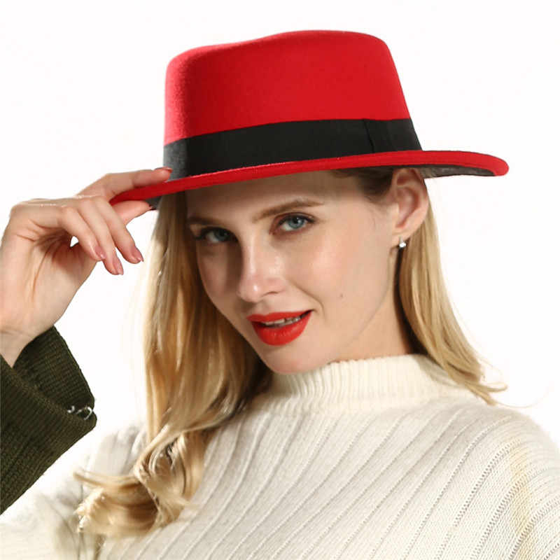 New Vintage Wool Felt Top Hat Red Black Color Matching Fedora Hat Female Jazz Cap chapeau femme Church Hats for Black Women