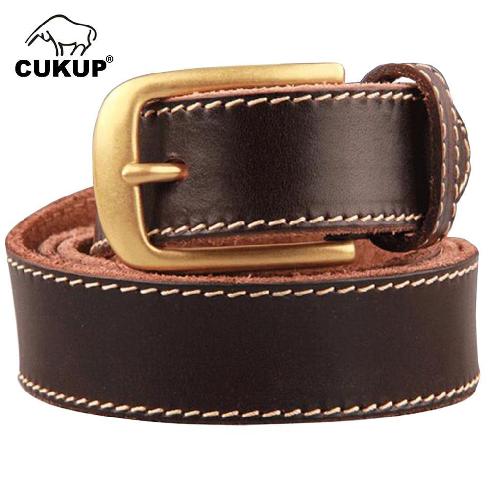 CUKUP unisexe Top qualité Grain vache en cuir de vachette ceinture en laiton boucle Jeans accessoires 1.3