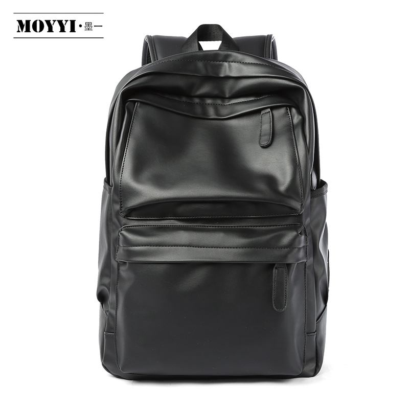 MOYYI PU Leather Backpack Men Travel Bag Waterproof Simple Style School Bags For Teenage Casual Fashion Pack Anti-Theft Bagpack
