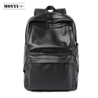 MOYYI PU Leather Backpack Men Travel Bag Waterproof Simple Style School Bags for Teenage Casual Fashion Pack Anti Theft Bagpack