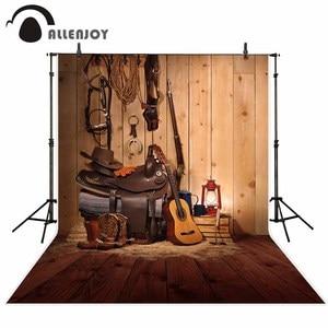 Image 2 - Allenjoy Tây Phông Nền Chụp Ảnh Da Bò Âm Nhạc Đồng Quê Gỗ Phông Nền Photocall Để Chụp Trang Trí Mới Vải
