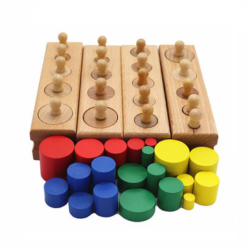 Montessori Educational Wooden Toys For Children Cylinder Educational Preschool Early Learning Toy Montessori Toy YD2564H 4pcs set educational wooden kid montessori math cylinder socket early learning development teaching toy gift