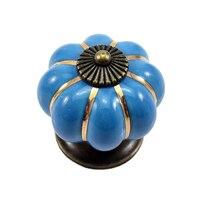 12 шт. тыквы цинк Керамика дверные ручки потянуть ручку ящика Кухня шкаф синий