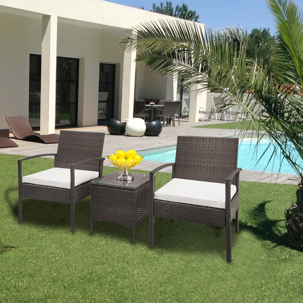 Patio Furniture Table And Chairs Us 138 99 2 Arm Chairs 1 Coffee Table Wicker Rattan Sofa Outdoor Garden Yard Sofa Patio Furniture Sofa Set Brown Gradient Us Stock In Garden Chairs