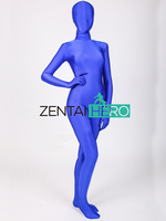 Free Shipping Sexy Blue Color Smooth Full Body Lycra Second Skin Tight Zentai Suit Newest Long Sleeve Bodysuits For Girl Lady