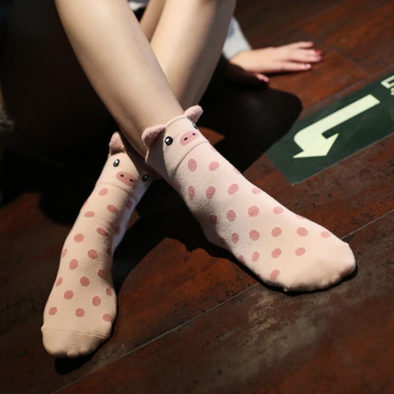 Lovely Pig Animal Pattern Cotton Socks Lady Casual Sock Comfortable Short Socks