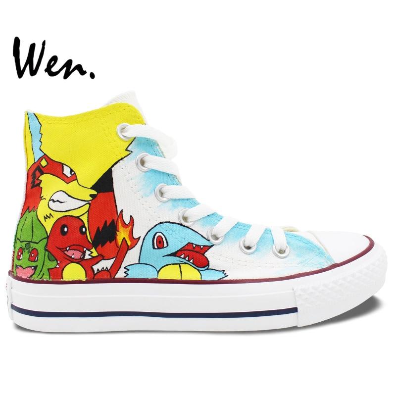 Prix pour Custom Design Blanc Peint À La Main Chaussures Anime Pokemon Pocket Monster High Top Toile Sneakers pour Hommes Femmes de Cadeaux