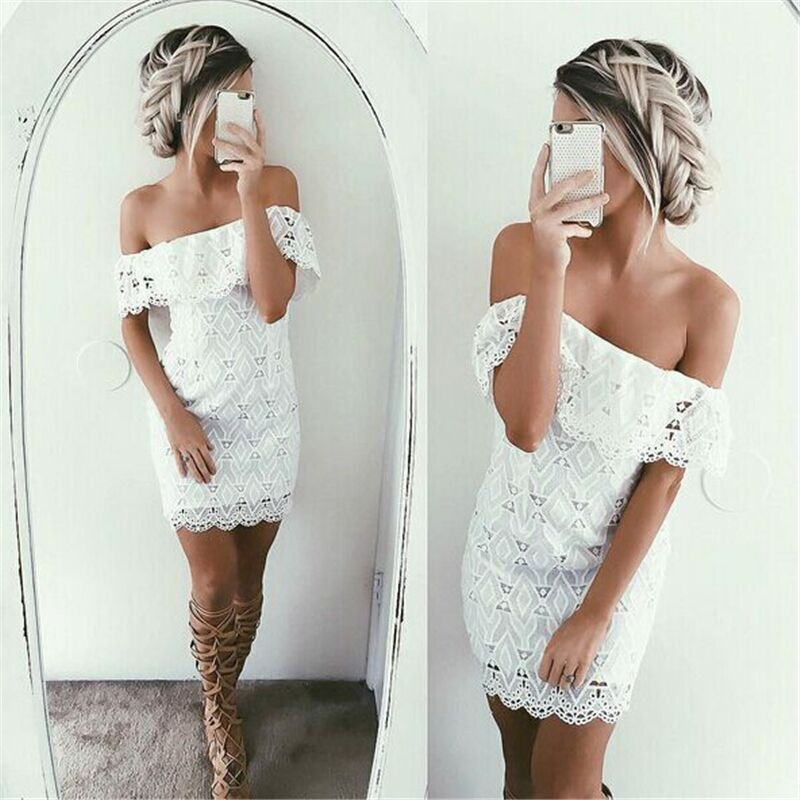 Sexy off the Shoulder White Lace Dress Women Casual vestido de festa feminino Monos Summer Style High Slit Party Boho Dresses 4