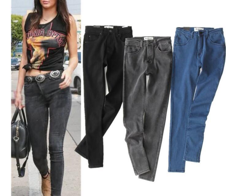 High Waist Elastic Soft Skinny Jeans Pants Women Newest Denim Pencil Pants Female Vintage Office Work