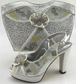 Silver Peep Toe African Woman Pumps Matching Bag Free Shipping New Italian Shoes And Bag Set For Wedding ME6607