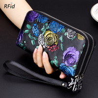 Beautiful Chinese Style Rose Flowers Double Zippers Women Wallets Thicken Cowhide Long Purse RFID Genuine Leather Women Clutch