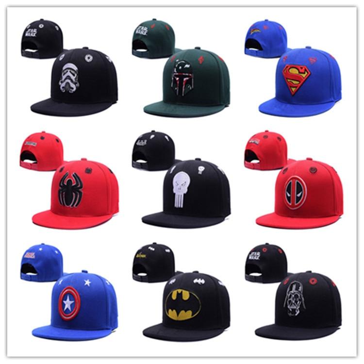Captain America Superman Batman spiderman Avengers Transformers baseball cap snapback hat embroidery hip hop snapback  cap transformers маска bumblebee c1331