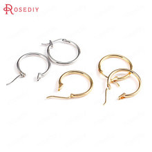 10PCS 18MM 24K Gold Color Plated Brass Loop Earrings Hoops High Quality Diy Jewelry Earrings Findings Accessories