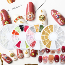 AB Nail Glitter Pearl Wheel Rhinestones Colorful Mixed Beads Gold Metal Alloy Stone Ball Micro Nail Art Decoration DIY Tip Decor